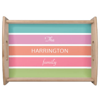 Colorful Stripes custom text serving trays