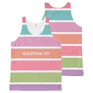 Colorful Stripes custom text tank top