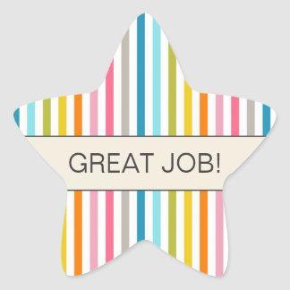 "Colorful Stripes ""Great Job"" Star Sticker"