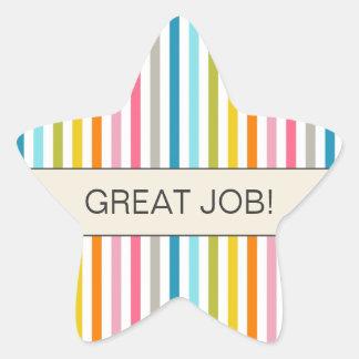 "Colorful Stripes ""Great Job"" Star Sticker"