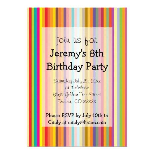 Colorful Stripes Kids Birthday Party Invitation