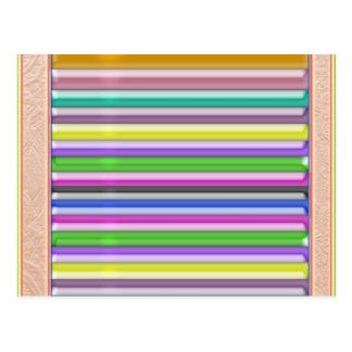 Colorful Stripes n Gold Border Postcard