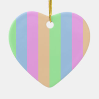 Colorful Stripes on Heart Ceramic Heart Decoration