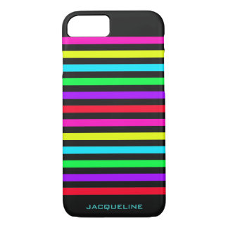 colorful stripes over dark with text iPhone 8/7 case