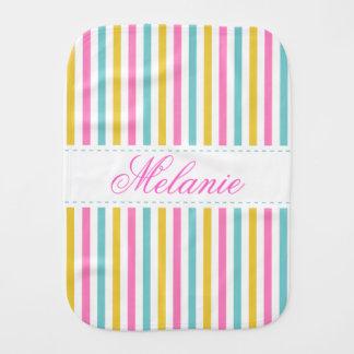 Colorful Stripes Pattern Custom Name Burp Cloth