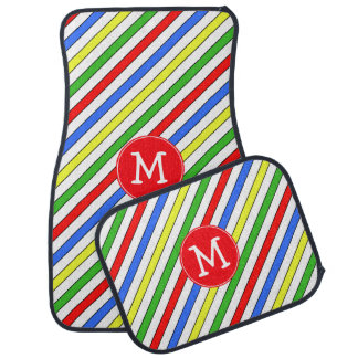 Colorful Stripes Pattern Monogram Floor Mat