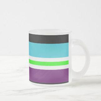 Colorful Stripes Purple Teal Blue Lime Green Black Mug