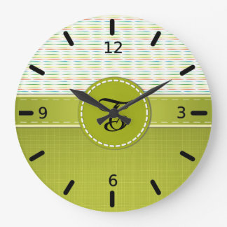 Colorful Stripes, Spring Green Monogram Large Clock