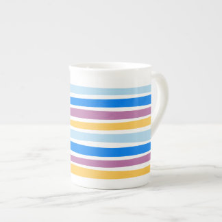 Colorful Strips Blue, Purple, Gold Bone China Mug
