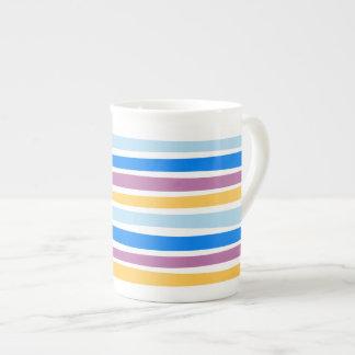 Colorful Strips Blue, Purple, Gold Bone China Mug
