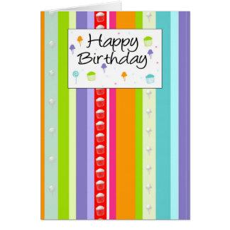 Colorful Stripy Birthday Card - Modern Birthday Ca