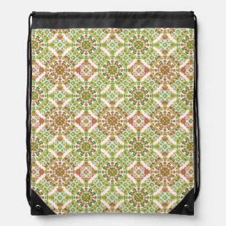 Colorful Stylized Floral Boho Drawstring Bag