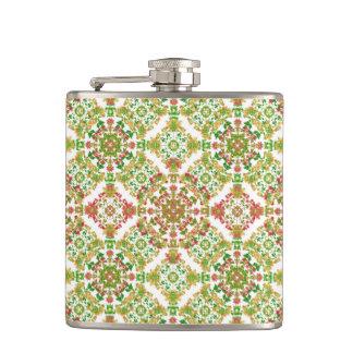 Colorful Stylized Floral Boho Hip Flask