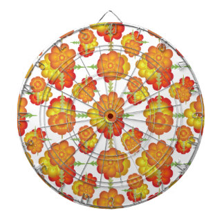 Colorful Stylized Floral Pattern Dartboard