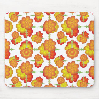 Colorful Stylized Floral Pattern Mouse Pad
