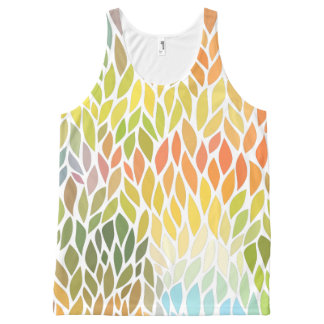 Colorful Stylized Leafs Pattern All-Over Print Tank Top