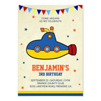 Colorful Submarine Kids Birthday Party Invitation