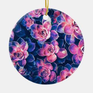 Colorful Succulent Plants Ceramic Ornament