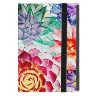Colorful Succulent Plants Messy Watercolor iPad Mini Case