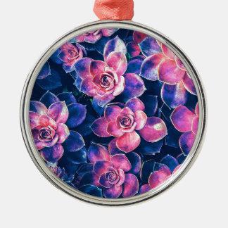 Colorful Succulent Plants Metal Ornament