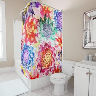 Colorful Succulent Plants Pretty Watercolor Shower Curtain