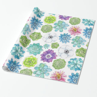 Colorful Succulents and Flowers Wrapping Paper