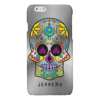 Colorful Sugar Skull 2 Metallic Silver Background