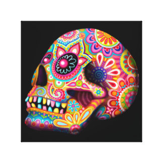 Colorful Sugar Skull Art Canvas Print