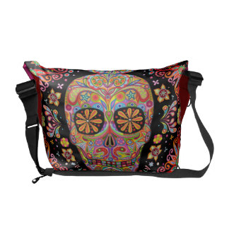 Colorful Sugar Skull Art Messenger Bag