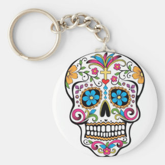 Colorful Sugar Skull Basic Round Button Key Ring