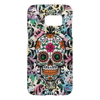 Colorful Sugar Skull & Black Swirls