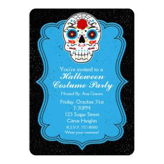 Colorful Sugar Skull & Blue Party Invitation