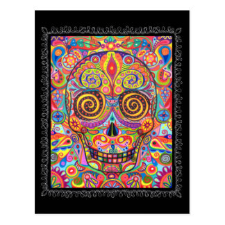 Colorful Sugar Skull Day of the Dead Postcard