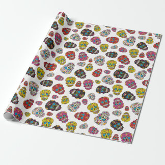 Colorful Sugar Skull Day of the Dead Print Wrapping Paper