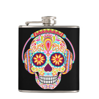 Colorful Sugar Skull Flask - Day of the Dead Art