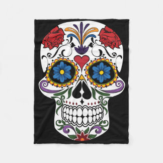 Colorful Sugar Skull Fleece Blanket
