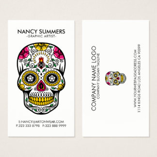 Colorful Sugar Skull Internal Flame Business Card