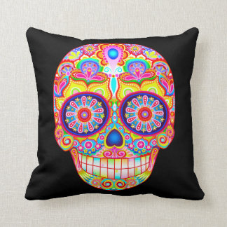 Colorful Sugar Skull Pillow - Day of the Dead Art Cushion