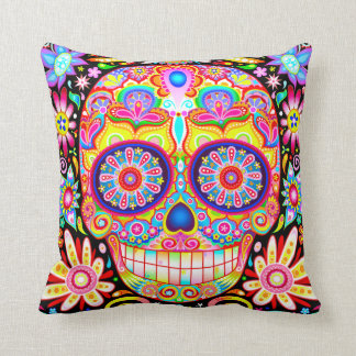 Colorful Sugar Skull Pillow - Day of the Dead Art Throw Cushion