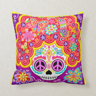 Colorful Sugar Skull Pillow - Day of the Dead Girl Cushion