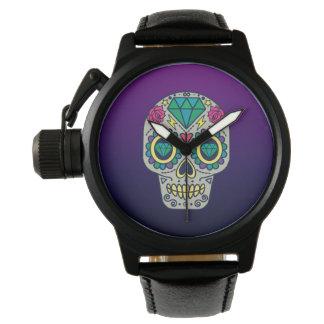 Colorful Sugar Skull Purple Ombre Wrist Watch