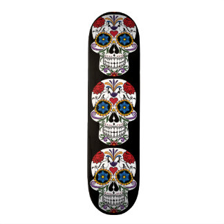 Colorful Sugar Skull Skate Board Deck