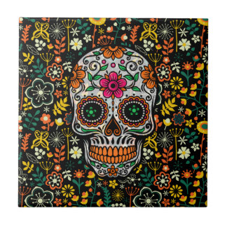 Colorful sugar Skull With Retro Flowers Background Tile