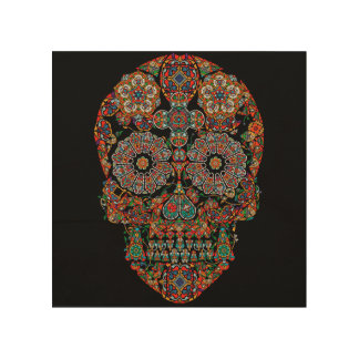 Colorful Sugar Skull Wood Wall Art Wood Canvases