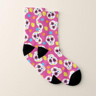 Colorful Sugar Skulls and Flowers on Pink Socks