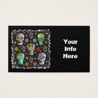 Colorful Sugar Skulls Business Card