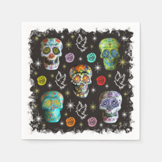 Colorful Sugar Skulls Disposable Napkins