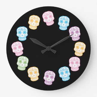 Colorful Sugar Skulls Large Clock