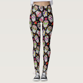 Colorful Sugar Skulls Patterned Leggings