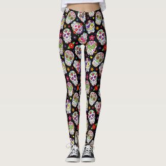 Colorful Sugar Skulls Patterned Leggings
